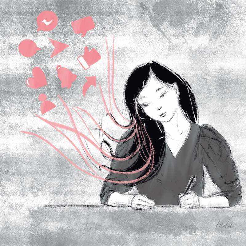 Illustration of girl with long hair attached to social media and digital icons