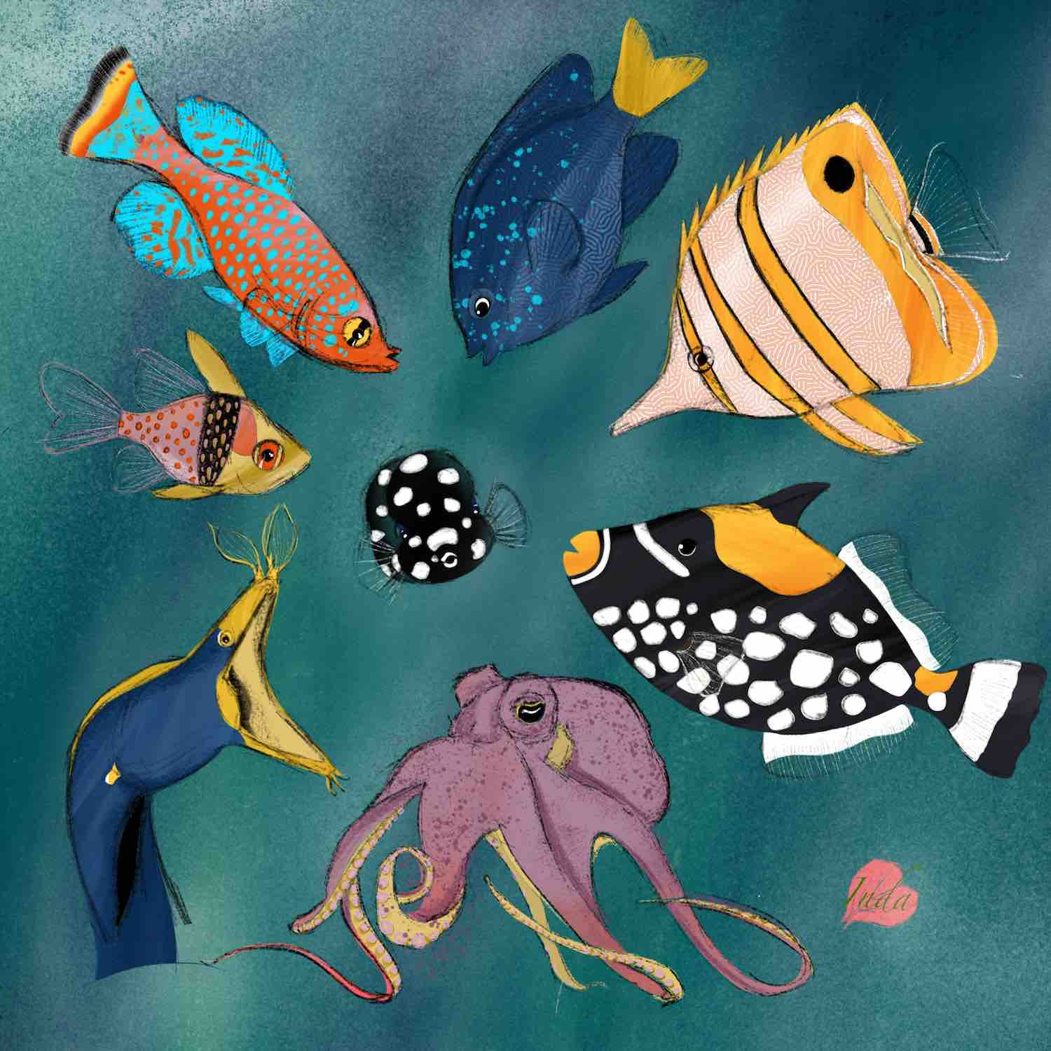 Illustration of colourful fish