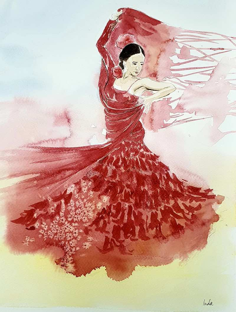 Illustration of woman dancing flamenco wearing a red dress