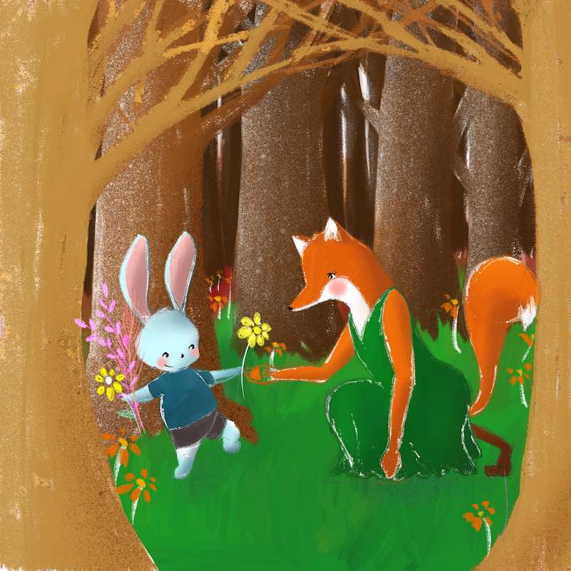 Illustration of rabbit and fox in a forest