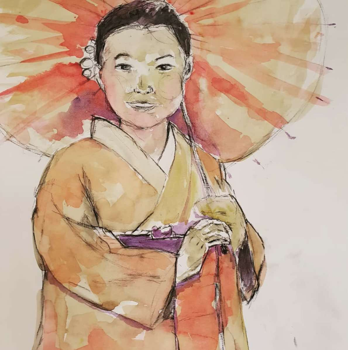 Watercolour illustration of girl in kimono carrying a parasol