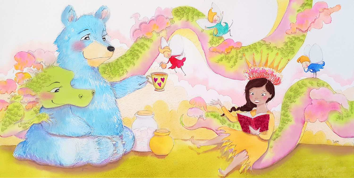 Illustration of dragon, bear and girl having a tea party