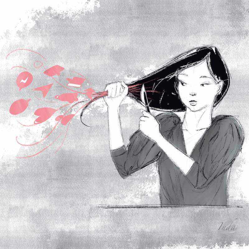 Illustration of girl cutting away the social media and digital icons