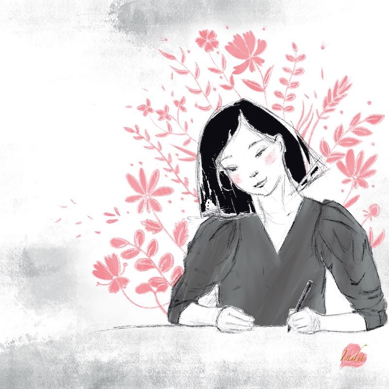 Illustration of girl with shorter hair and flowers and plants representing growth and creativity