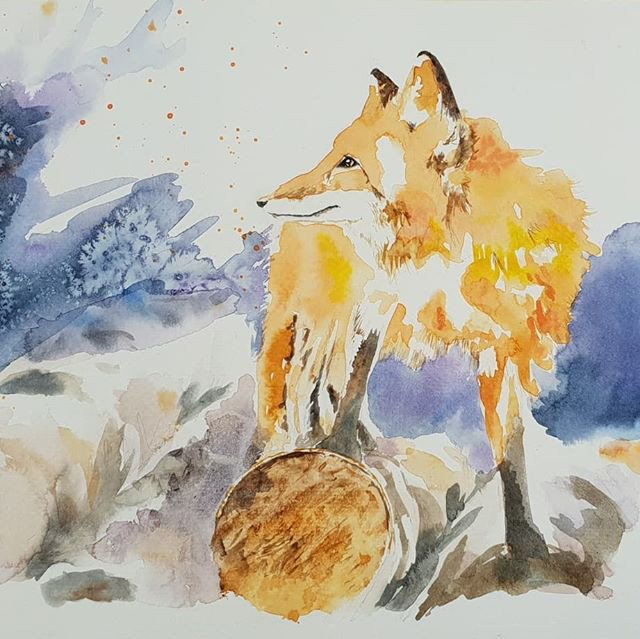 Illustration of a fox with its paw on a log