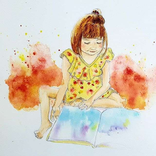 Watercolour illustration of young girl reading