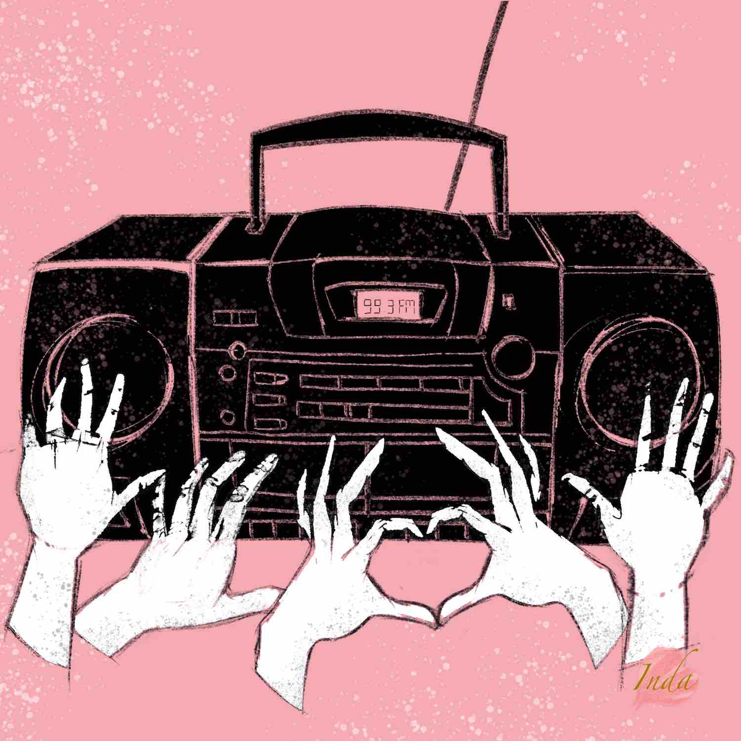 Illustration of portable radio with five hands in front